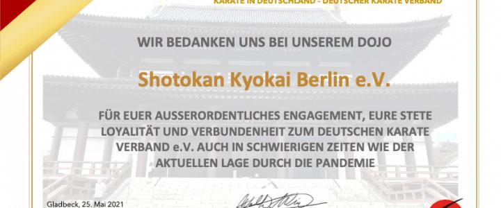 Dank des DKV für die Mitarbeit im Verband – JKA Karate Berlin